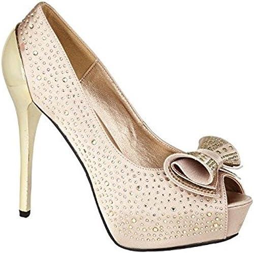 Girls New Style Ladies Designer New In Diamante Satin Court Shoes
