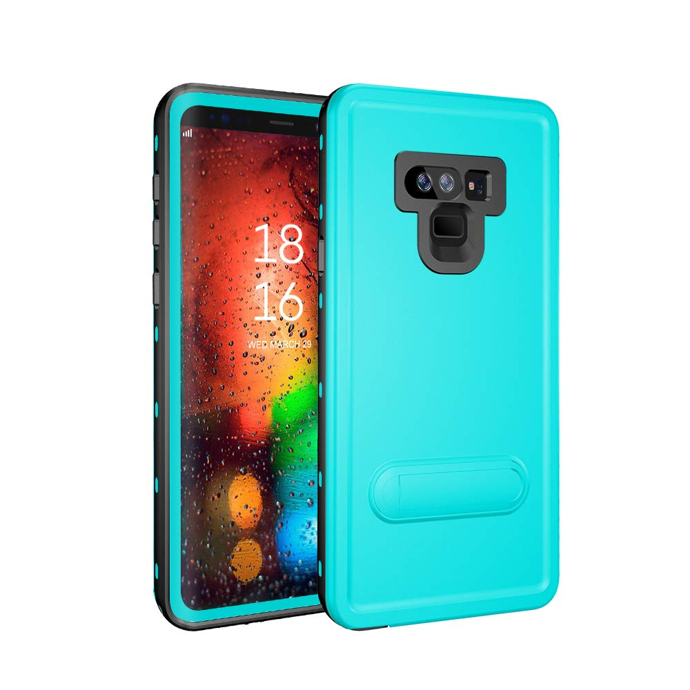 Galaxy Note 9 Waterproof Case, ZERMU Colorfue Kickstand Shockproof Snowproof Cover IP68 Underwater Full Body Protection Built-in Screen Protector Underwater Waterproof Case for Samsung Galaxy Note 9