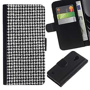 KingStore / Leather Etui en cuir / Samsung Galaxy S4 IV I9500 / Negro Blanco clásico patrón de tela de la manera