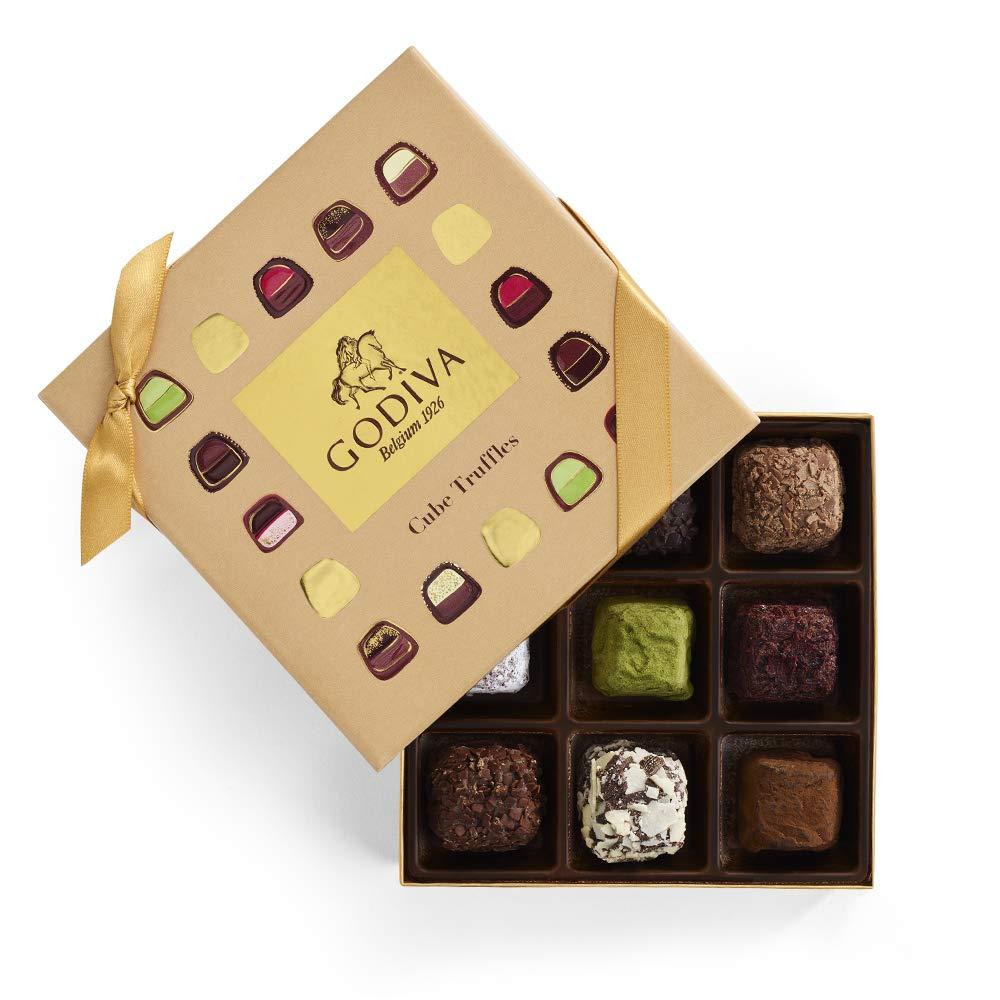 Godiva Chocolatier Chocolate Truffle Cube Box, Truffle Gift Box, Assorted Chocolate Truffles, 9 pc by GODIVA Chocolatier