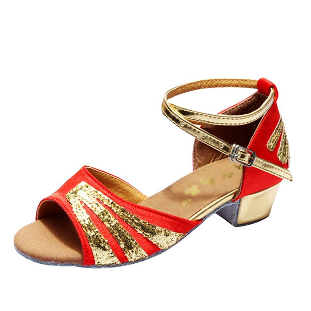 Lihaer Chaussures de Danse pour Enfants Adultes Professionnels Femmes Sandales de Chaussures de Danse Latine Jazz Tango