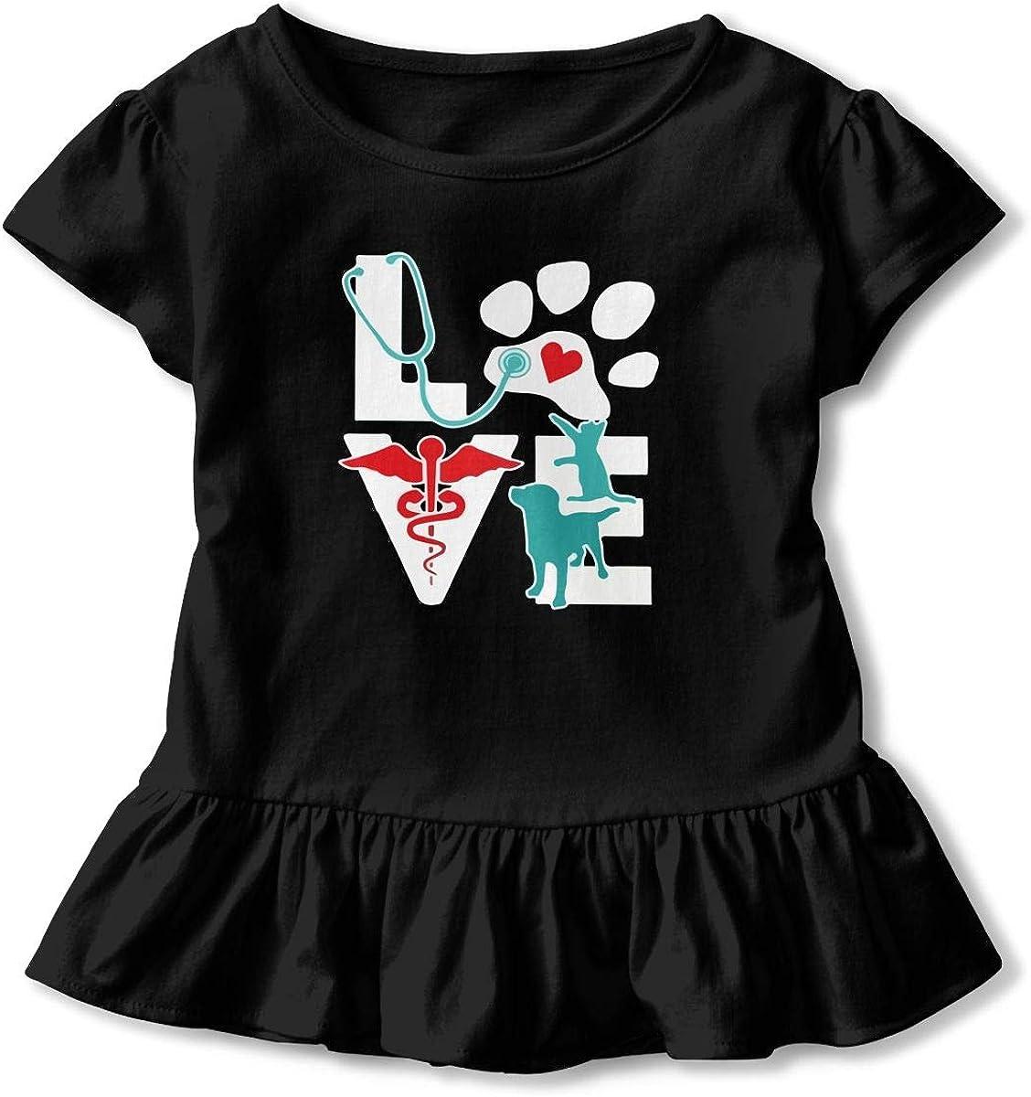 Veterinarian Love Toddler Girls T Shirt Kids Cotton Short Sleeve Ruffle Tee