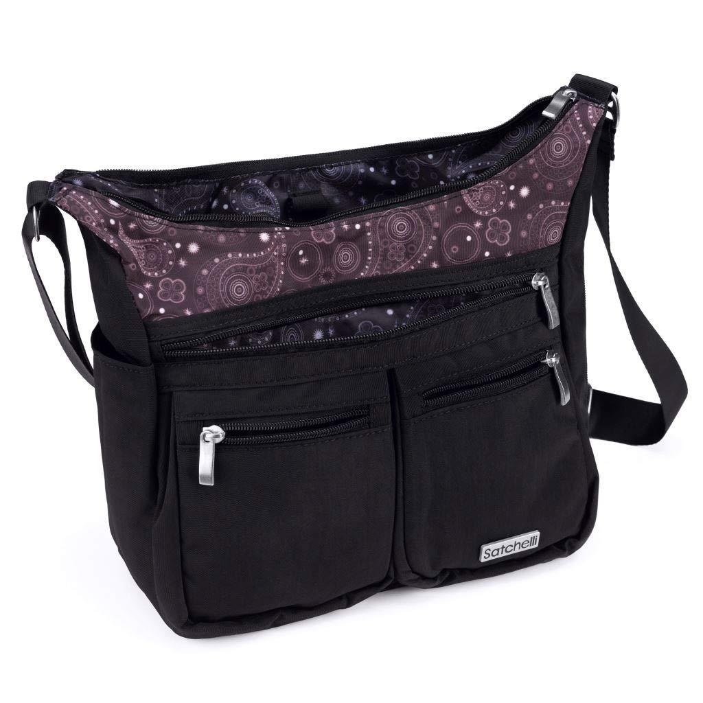 Satchelli Crossbody Bag with RFID Blocking Anti Theft Wristlet, Black Crossbody Travel Purse for Women