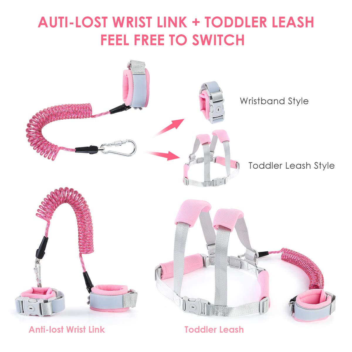 Anti Lost Wrist Link for Toddler,Safety Wrist Link for Kids with Reflective Tape Anti Lost Harness for Baby Walking Safety Leash Blue