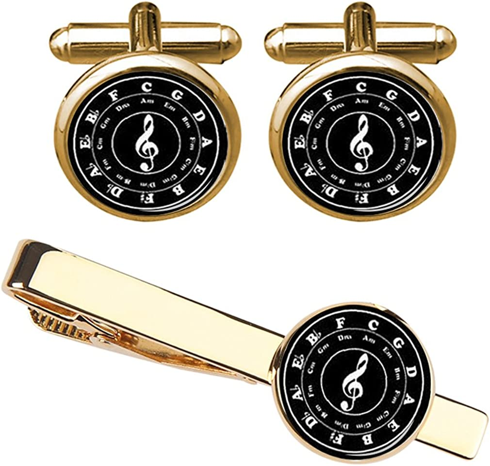 ZUNON Music Cuff Links Note Bass Clef Cufflinks & Tie Clips Set Musician Artist Mens Gift Gifts for Him