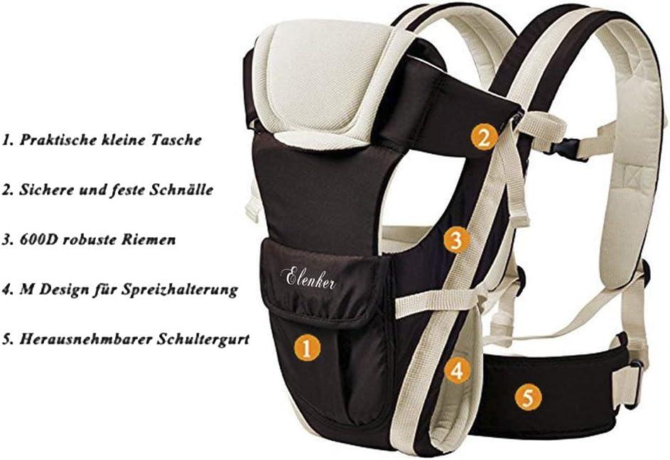 ELENKER Porte-b/éb/é Multifonctionnel avec 4 Fa/çon de Porter Tissu Respirant R/églable Confortable Sangle(3-18KG,0-30Mois)Beige