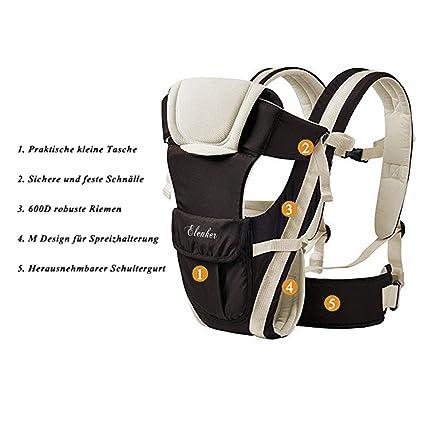 Rücken- und Hüfttrage Bauch- 4 Tragpositionen 3-18KG 0-3 ELENKER Babytrage