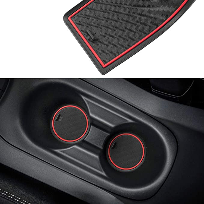 JIECHEN Custom Fit Cup Holder Carbon Fiber Pattern - Blue and Center Console Liner Accessories for Ford F-150 2017 2018 2019 2020 28-pc Set Door