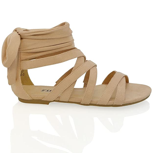 ESSEX GLAM Sandalo Donna Carne Finto Scamosciato Gladiatore Cinghiolo  Posteriore Caviglia EU 36: Amazon.it: Scarpe e borse