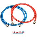 Washing Machine Hose Stainless Steel Braided Water Supply Line - 6 ft Burst Proof - 2 pack - Hot and Cold Color Coded PVC Layer - Extra Insulation for added Home Protection