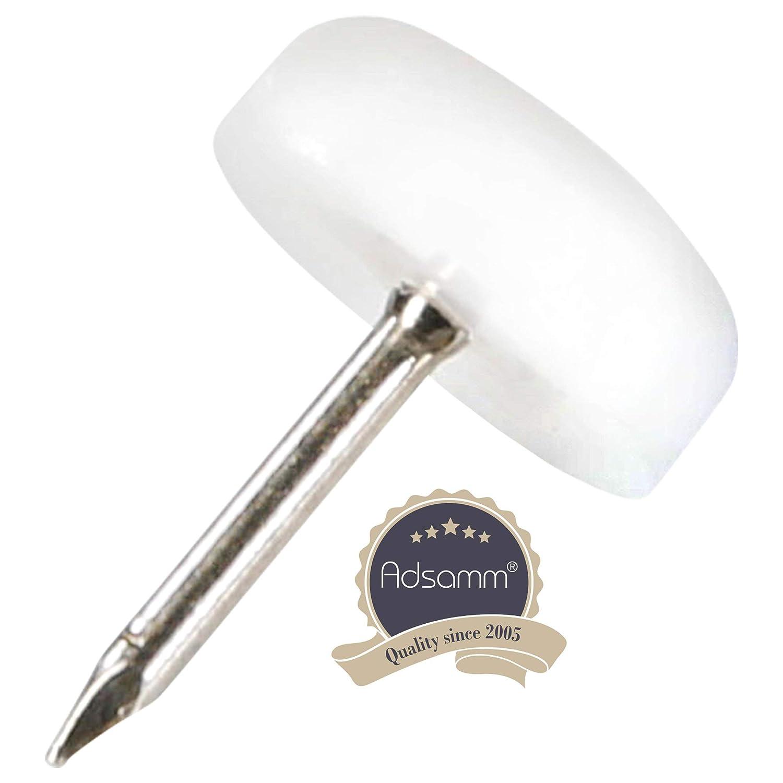 32 x Deslizante de pl/ástico con clavo redondas /Ø 10 mm Patas de muebles con clavo de la m/áxima calidad de Adsamm/® blanco