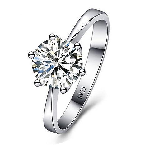 sito affidabile 5311b 16db9 Skyllc® Anello di fidanzamento d'argento delicato placcato scintillante  Squisito strass Diamante Wedding per le donne