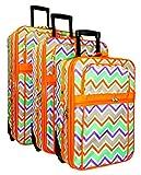 Orange Multicolor Chevron Print 3 Piece Expandable Luggage Set