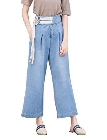 dd2d815c IDEALSANXUN Womens Relaxed-Fit Loose Denim Pants Jeans Trousers Classical  Blue Wide Leg Opening at Amazon Women's Jeans store