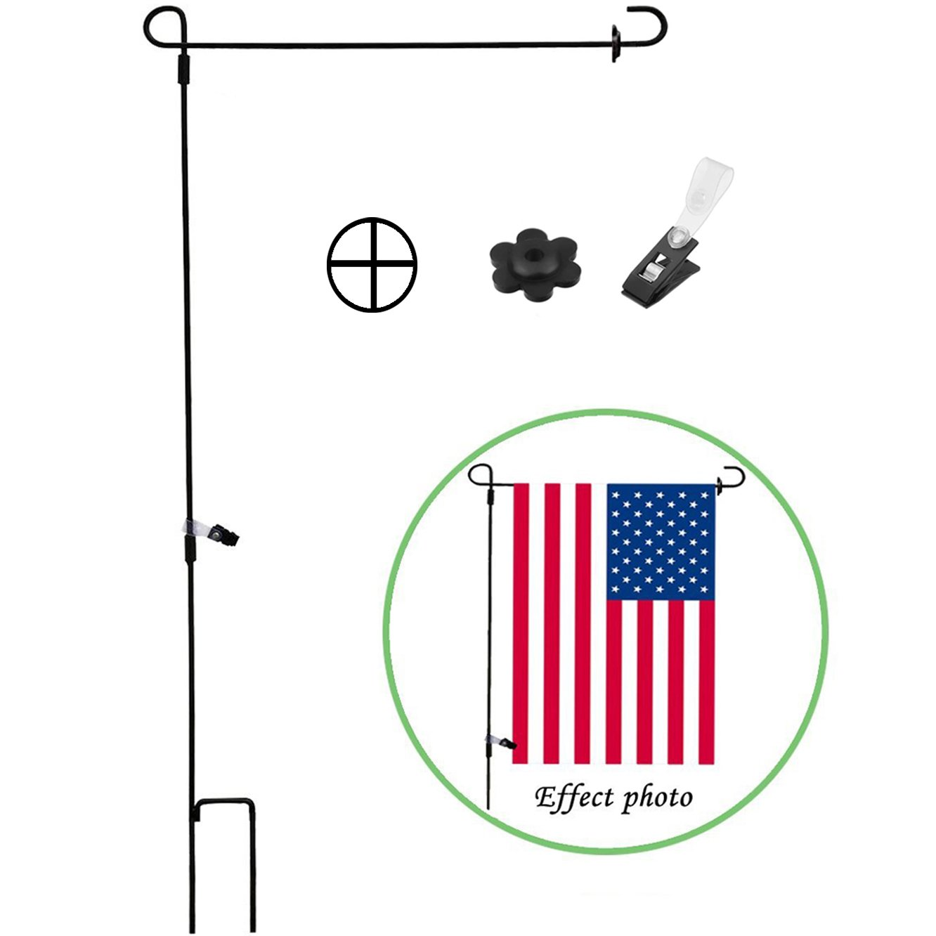 Garden Flag Stand Holder Pole with Flags Rubber Stopper and Anti-Wind Clip Perfect Home Use Mini Outdoor Flagpole fits Season Garden Banners FREE Iron Material Powder Coated Weather-Proof Paint