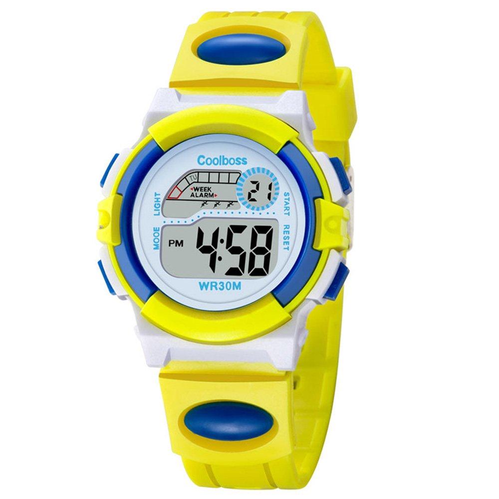 Fashion Casual Sport Students Children Boys Girls Waterproof LED Digital Multifunction Quartz WristWatch Rubber Strap (Yellow)