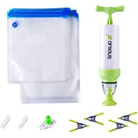 Sous Vide Bags Kit for Anova Cookers - 20 Reusable Food Vacuum Sealed Bags, 1 Hand Pump, 2 Bag Sealing Clips and 4 Sous Vide Clips