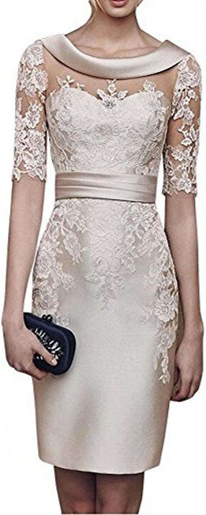 Charmant Damen 2020 Neu Champagner Satin Abendkleider Partykleider Ballkleider Langarm Knielang Festlich Kleider Amazon De Bekleidung