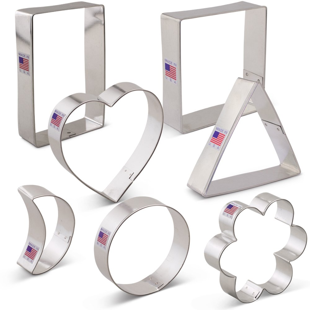 Geometric Classic Shape Cookie Cutter Set - 7 piece - Heart, Circle, Square, Rectangle, Triangle, Crescent Moon, Flower - Ann Clark - US Tin Plated Steel