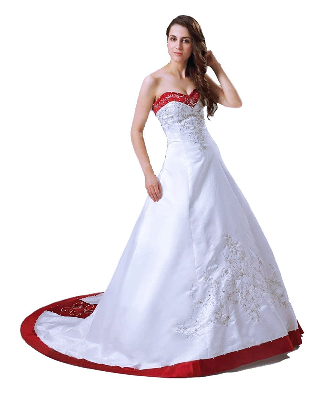 RohmBridal Womens Strapless Satin A-line Bridal Wedding Dress