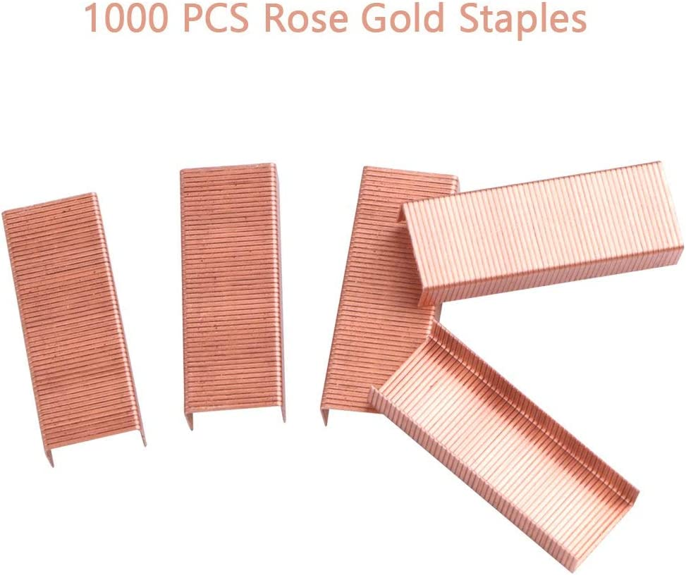 Rose Gold Office Supplies Set Stapler Tape Dispenser Staple Remover with 1000 Staples and 12 Binder Clips Luxury Acrylic Rose Gold Desk Accessories /& Decorations
