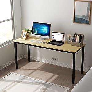 SDHYL 63 inches Modern Computer Desk X-Large Computer Desk for Studio Table, Home Office Desk/Workstation, Dining Table, Meeting Desk, Large Study Desk, Oak, S7-GCP2AC3-160OA