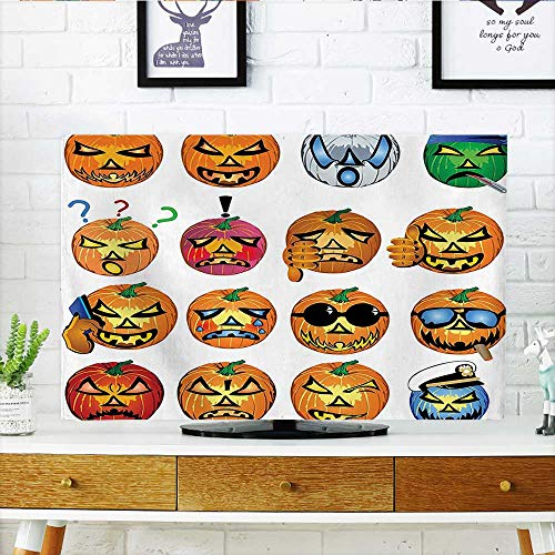 Protect Your TV Carved Pumpkin with Emoji Faces Halloween Humor Hipster Monsters Harvest Graphic Art Orange Protect Your TV W25 x H45 INCH/TV 47