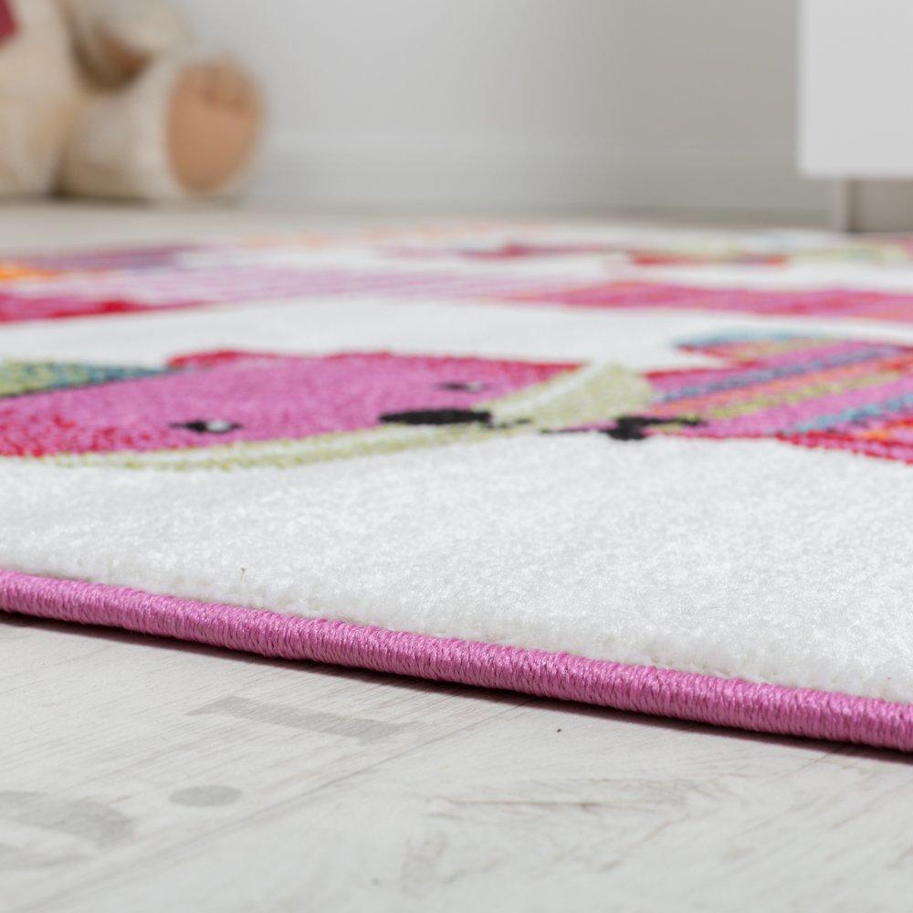 Teppich Kinderzimmer niedliche F/üchse Kinderteppich Fuchs Mehrfarbig Pink Creme Gr/össe:80x150 cm