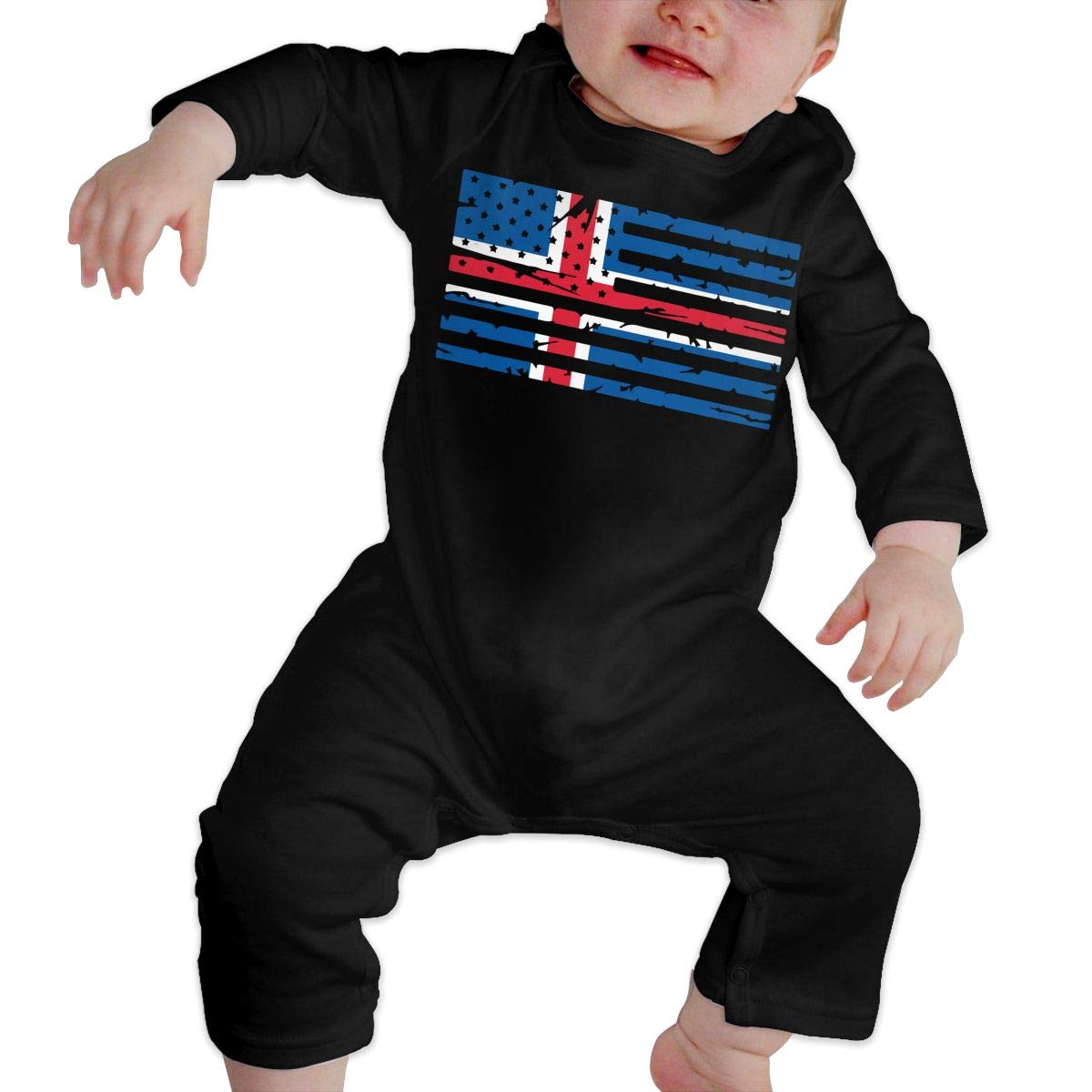 LBJQ8 Iceland American Flag Unisex Baby Sleep and Play Bodysuits Coverall Jumpsuit