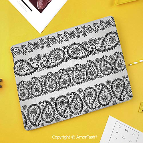 Printed Case for Samsung Galaxy Tab S4 Corner Protection Premium Vegan Leather Stand Cover,Paisley Decor,Winter Themed Design and Lace Like Ornaments with Flowers and Snowflakes,Black and White