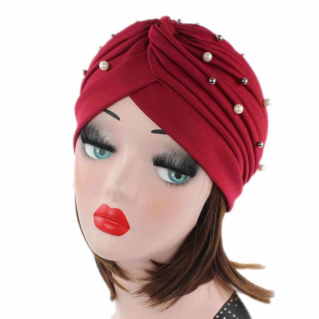 Bobury Mujeres Artificial Perla Turbante Sombrero Pérdida de Cabello Cáncer Cabeza Pañuelos Quimioterapia Cap Sombreros: Amazon.es: Deportes y aire libre