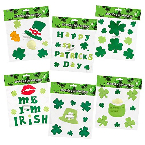 6 St. Patrick's Day Gel Clings; Includes: Shamrock, Leprechaun Hat, Pot-O-Gold, Kiss Me I'm Irish and More!! (Window Decorations Gel)