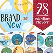 Monthly Baby Stickers - Huge 28 Pack of Baby Boy + Girl Onesie Belly Stickers. Includes 12 months, 1st year milestones & first holidays. Perfect baby shower & newborn birthday gift. (Adventure)
