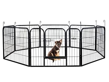 Amazon.com : PetDanze Dog Pen Metal Fence Gate Portable Outdoor ...