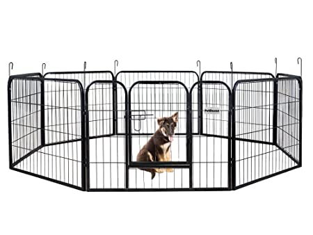 PetDanze Dog Pen Metal Fence Gate Portable Outdoor Heavy Duty Outside Pet Large Playpen Exercise RV Play Yard Indoor Puppy Kennel Cage Crate Enclosures 24 Height 8 Panel