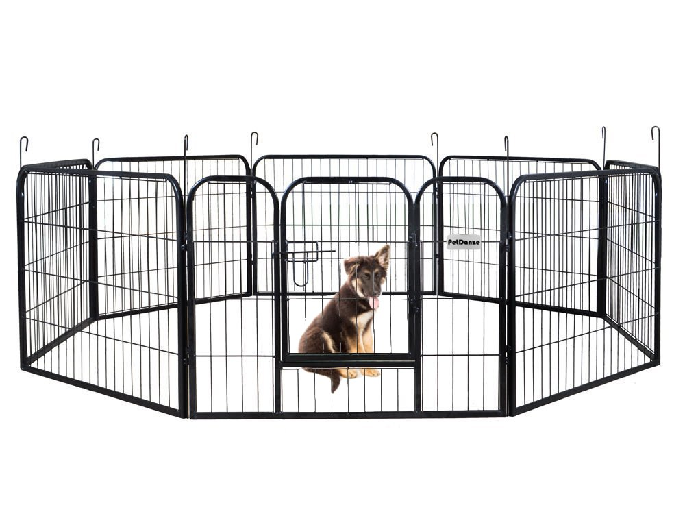 PetDanze Dog Pen Metal Fence Gate Portable Outdoor | Heavy Duty Outside Pet Large Playpen Exercise RV Play Yard | Indoor Puppy Kennel Cage Crate Enclosures | 24'' Height 8 Panel
