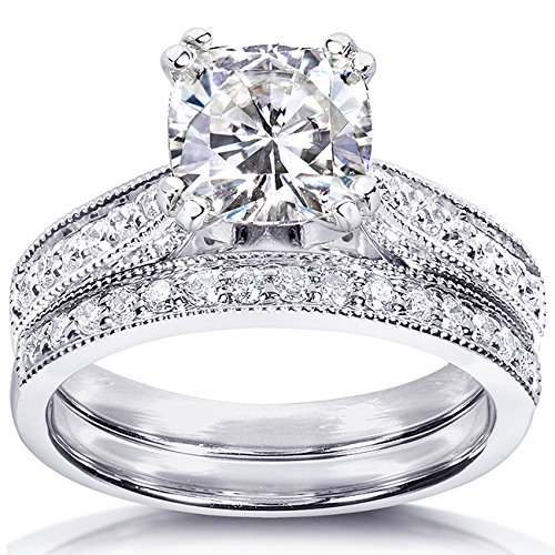 Forever One (D F) Moissanite Bridal Set with Diamond 1 2/5 CTW 14k White Gold