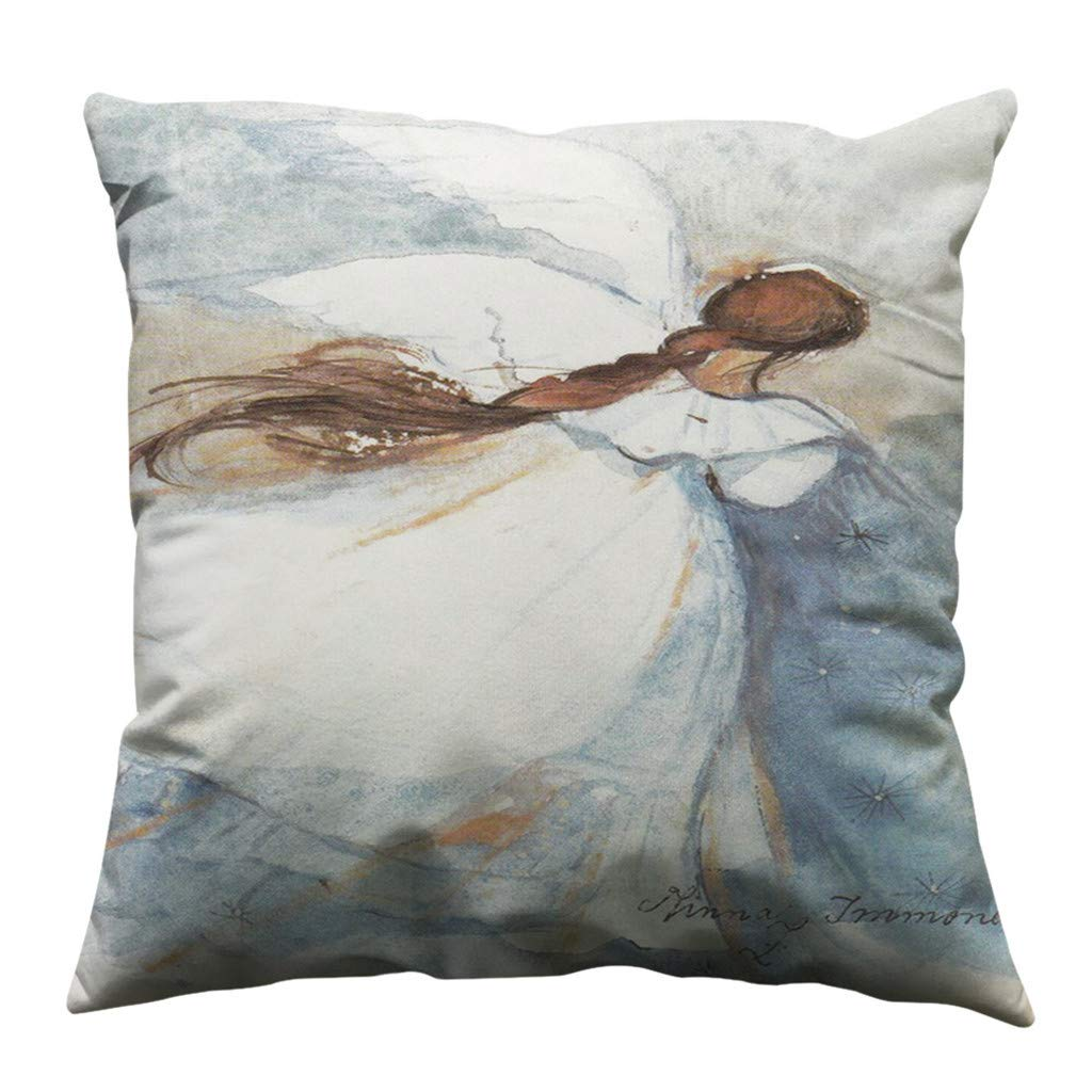 Psunrise La Almohada Fashion Soft Minimalist Girl Pillow Case Cotton Soft Sofa Throw Cushion Cover Home Decor(45x45 cm, E)