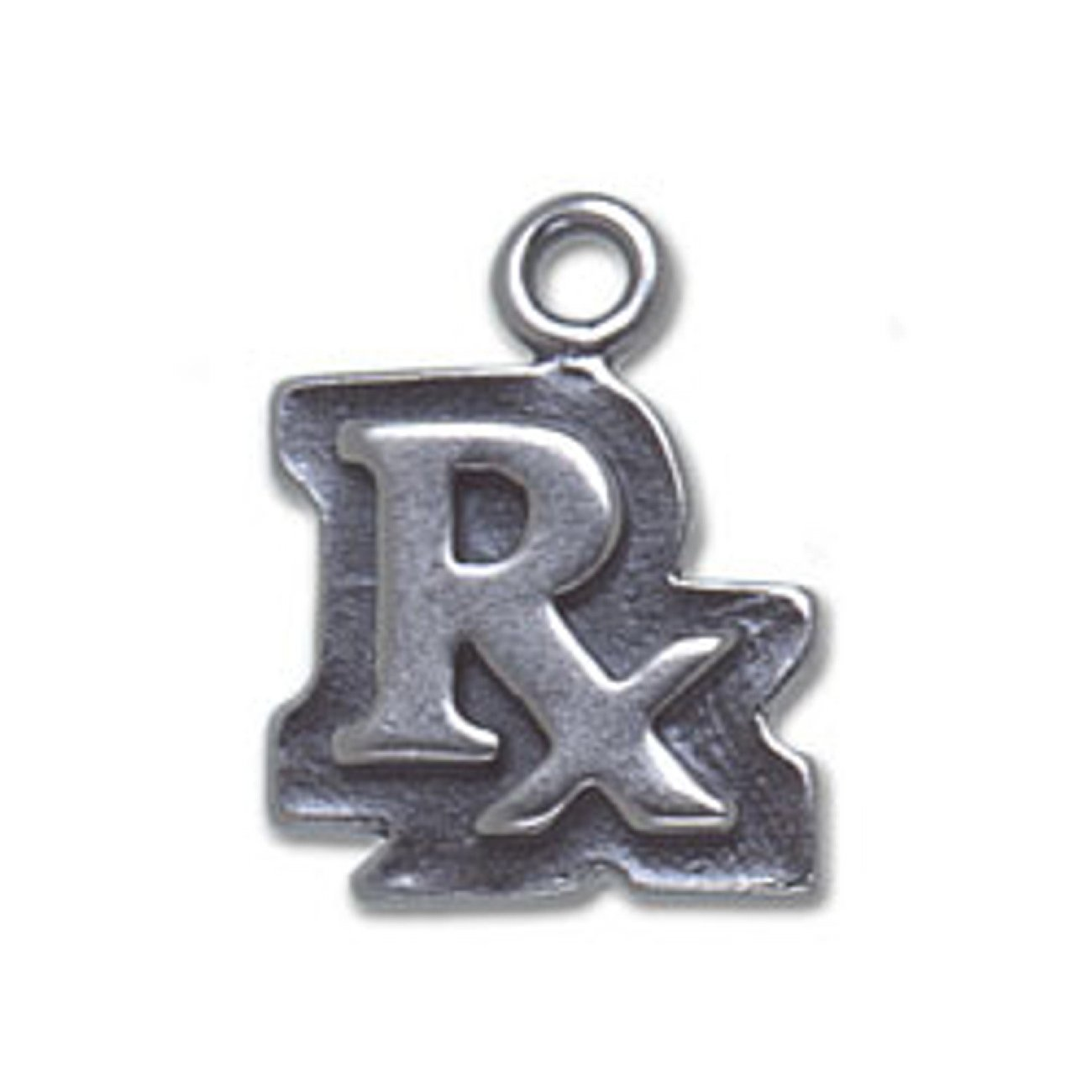 Sterling Silver Womens 1mm Box Chain RX Pharmacy Pendant Necklace