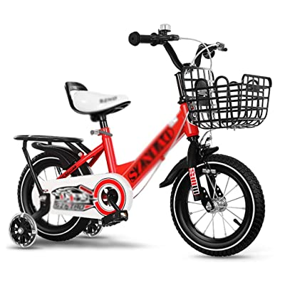 Children's Bicycle 12, 14, 16, 18 Inch Boy's Bicycle 2-4-8 Year Old Children's Bicycle Girl with Basket Aluminum Alloy Wheels (Color : Black red, Size : 16 inches): Home & Kitchen