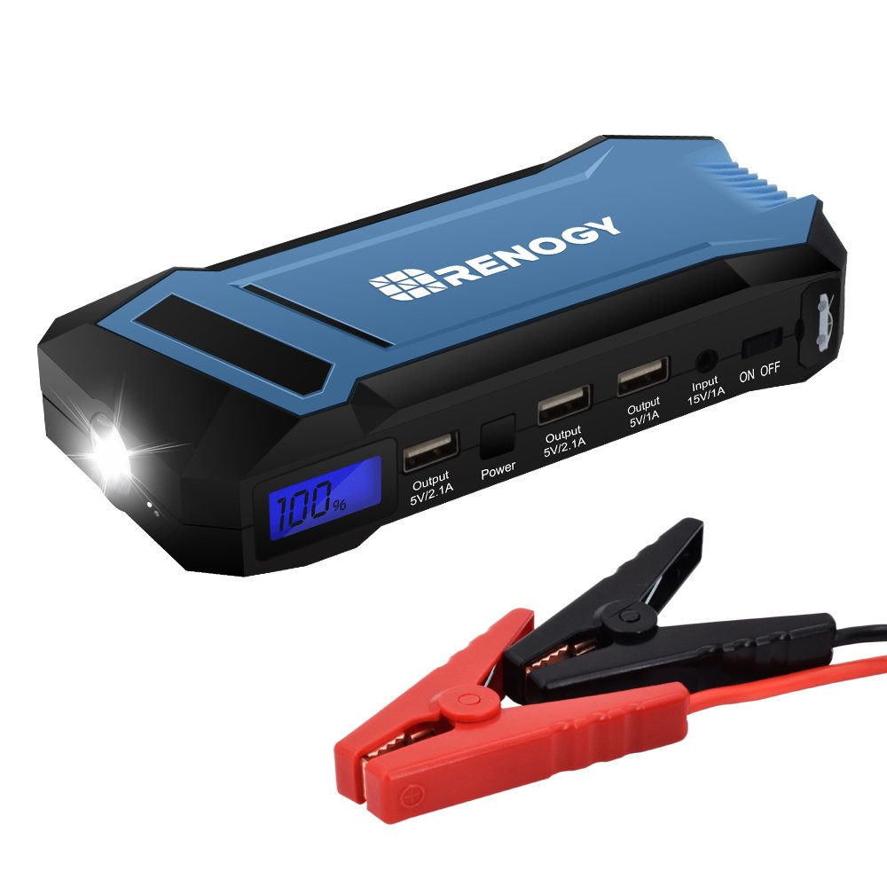 Renogy 400A Peak 12000 mAh Car Jump Starter Portable Durable Compact Charger with 3 USB Ports 3 Modes Emergency LED Flashlight Power Bank for iPhone iPad iPod Samaung Galaxy 5L Petrol 3L Diesel Engine