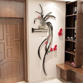 Wall sticker blumen und pflanzen hanging orchideen 3d acryl stereo ...