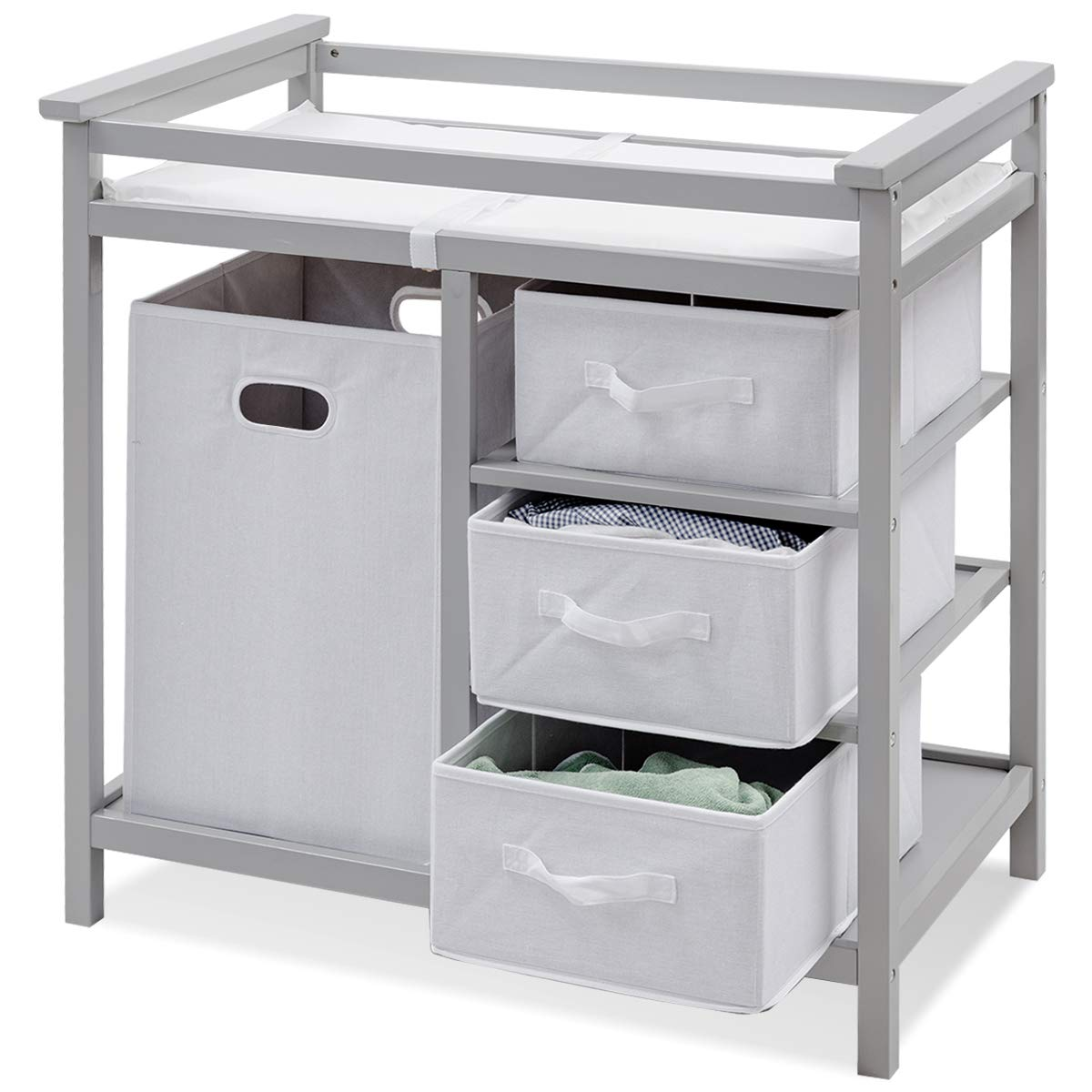 Costzon Baby Changing Table, Infant Diaper Changing Table Organization, Diaper Storage Nursery Station with Hamper and 3 Baskets (Gray+White) by Costzon