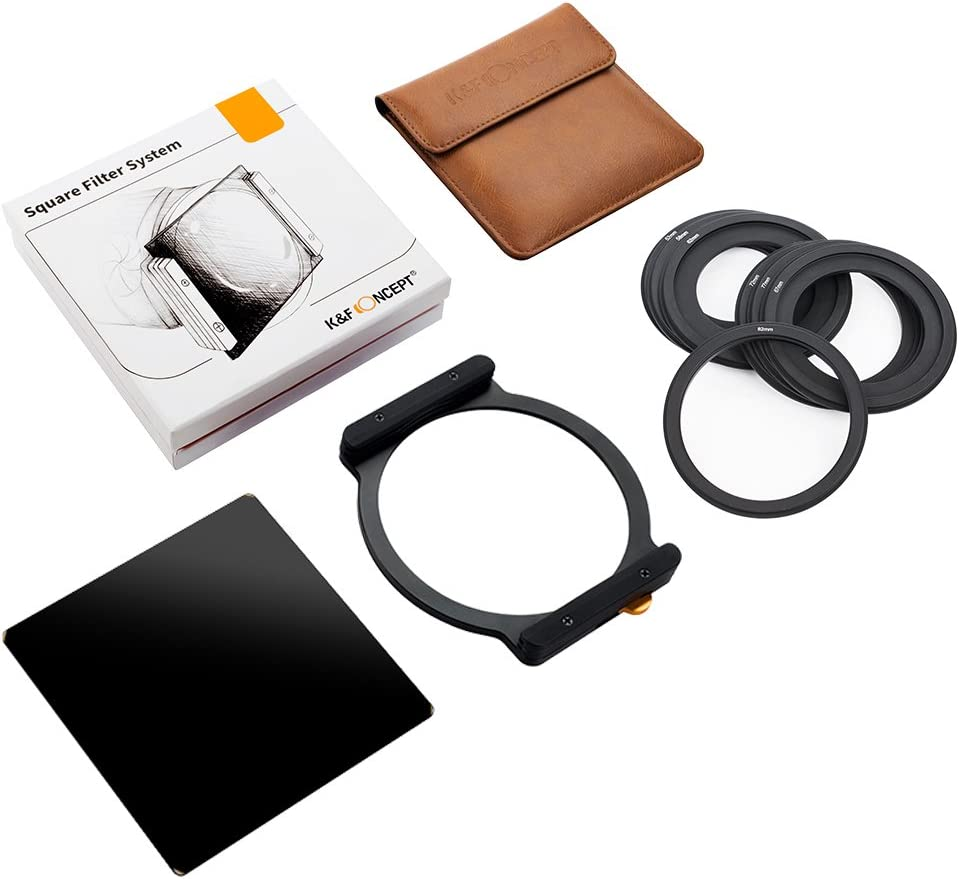 K&F Concept Square Filter ND1000 100x100mm 10 Stop Neutral Density with One Filter Holder and 7 Filter Ring Adapters Compatible with Canon Nikon Camera Lens