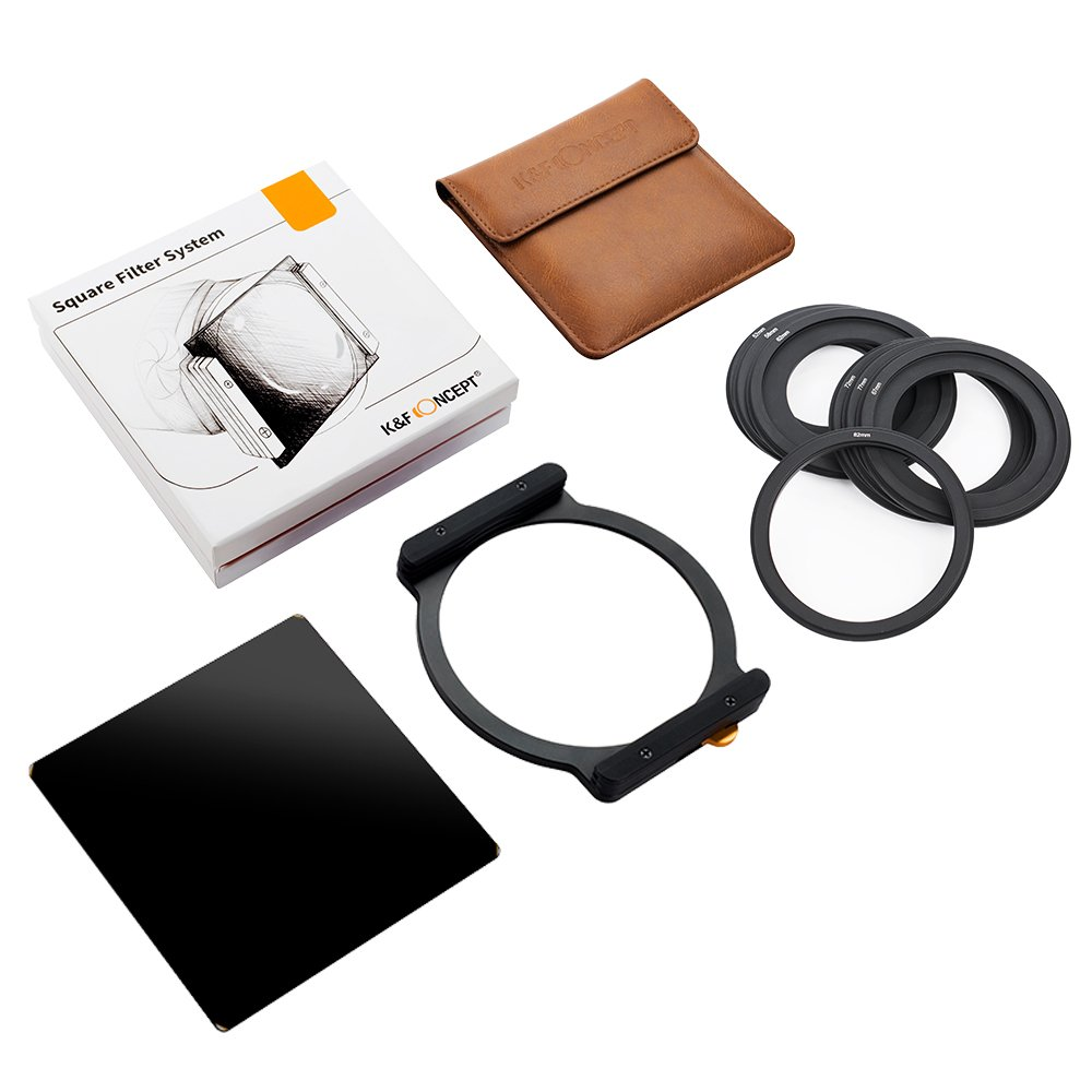 K&F Concept Square Filter ND1000 100x100mm 10 Stop Neutral Density with One Filter Holder and 7 Filter Ring Adapters Compatible with Canon Nikon Camera Lens by K&F Concept