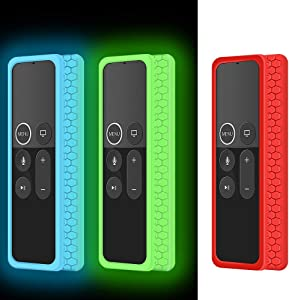 3 PCS Silicone Protective Case for Apple TV 4K 5th, 4th Gen Remote,Remote Case Holder Skin for Apple Smart TV Siri Remote Control,Shock Absorption Remote Battery Back Covers-Glowgreen,Glowblue,Red