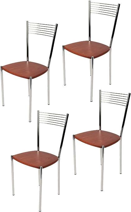 tmcs Tommychairs Set 4 sedie Moderne Elegance per Cucina e Sala da Pranzo, Struttura in Acciaio Cromato e Seduta in Legno Colore ciliegio