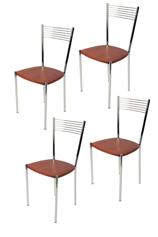 Set 4 sedie ELEGANCE per cucina e bar acciaio cromato e seduta in legno color ciliegio Tommychairs
