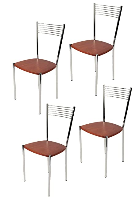 Tommychairs Set 4 sedie Elegance per Cucina Bar e Sala da Pranzo, Robusta  Struttura in Acciaio Cromato, Seduta in Legno Color Ciliegio