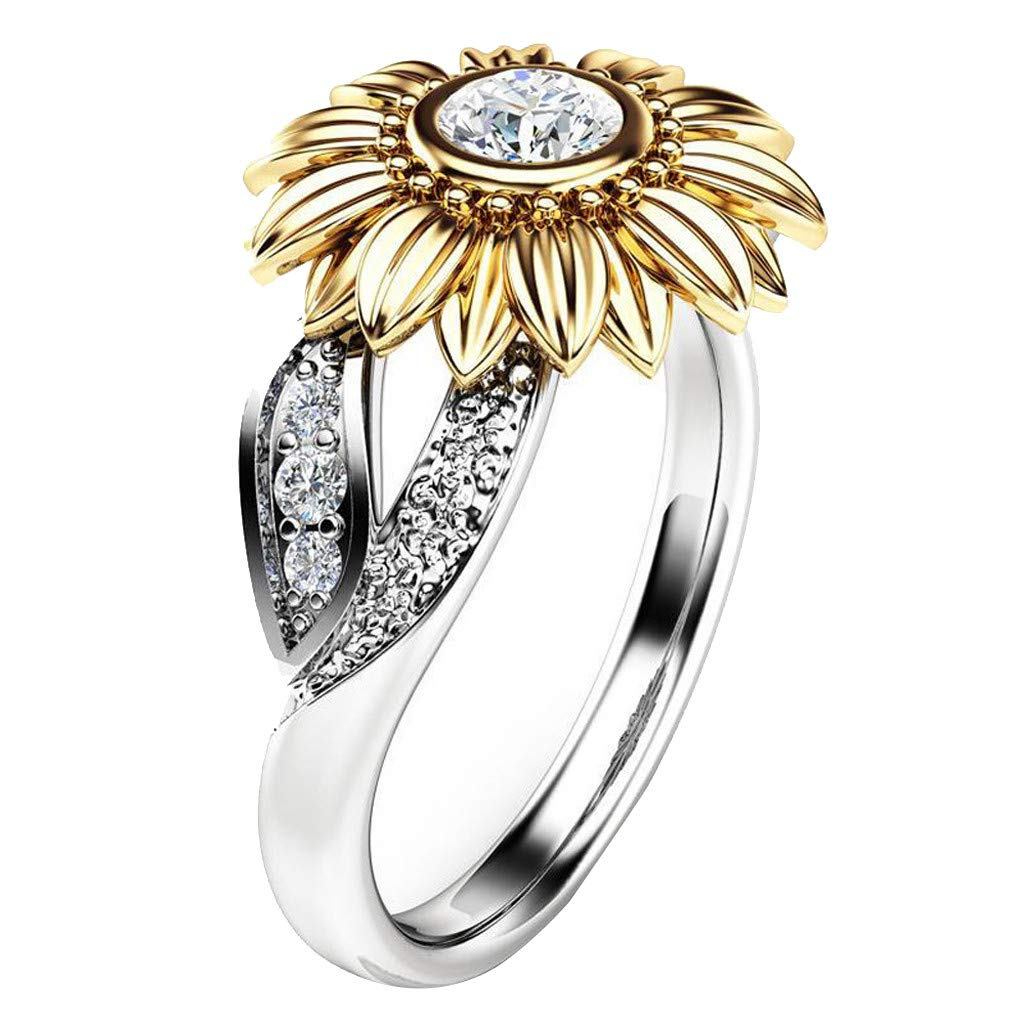 Floral Ring Round Diamond Sunflower Cubic Zirconia Ring with Side Stone Copper Leaf Eternity Band for Women